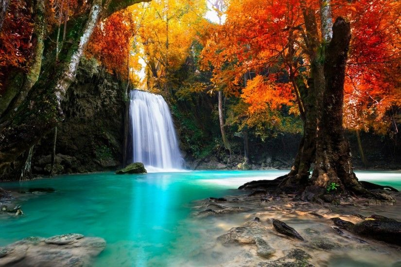 colorful, Trees, Waterfall, Nature, Tropical, Forest, Fall, Landscape,  Thailand, Water Wallpapers HD / Desktop and Mobile Backgrounds