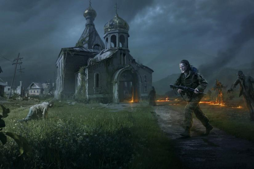 Preview wallpaper dayz standalone, apocalypse, fire, people, zombies,  church, village