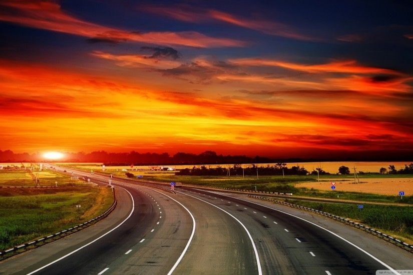 ... highway at sunset hd desktop wallpaper high definition ...