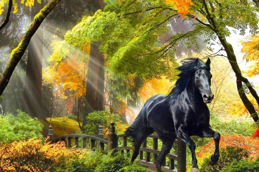 Glow Tag - Rays Autumn Beautiful Fall Horse Glow Bridge Art Painting Colors Forest  Enchanted Run