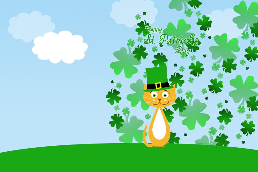 Holiday - St. Patrick's Day Cat Clover Wallpaper