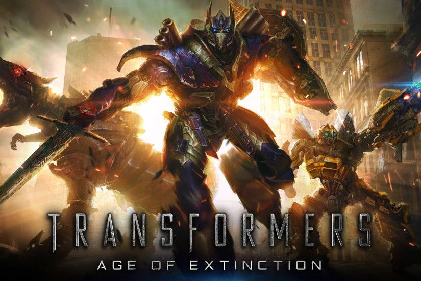 grimlock, optimus prime and bumblebee in transformers age of extinction