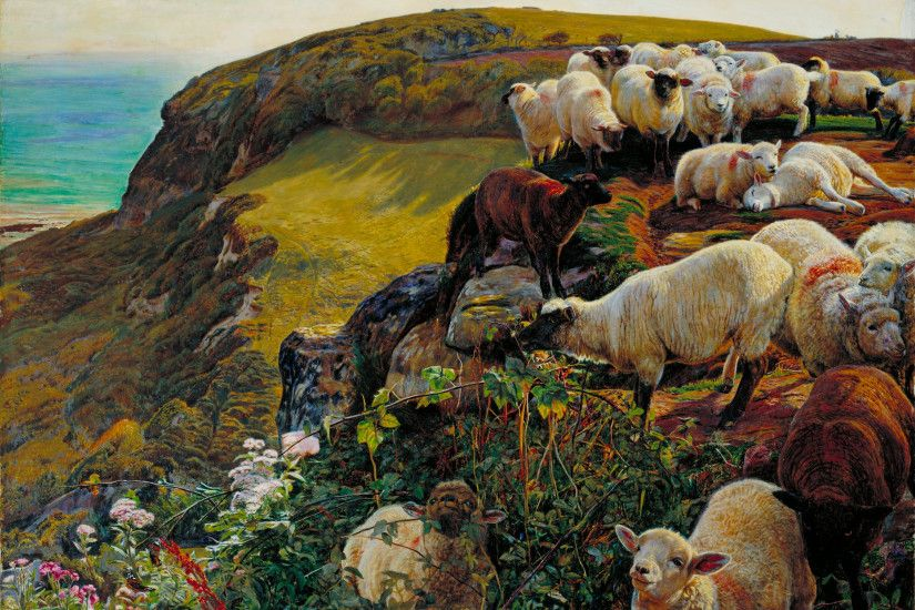 pre raphaelite paintings - Our English Coasts, 1852 ('Strayed Sheep') 1852  by William Holman Hunt