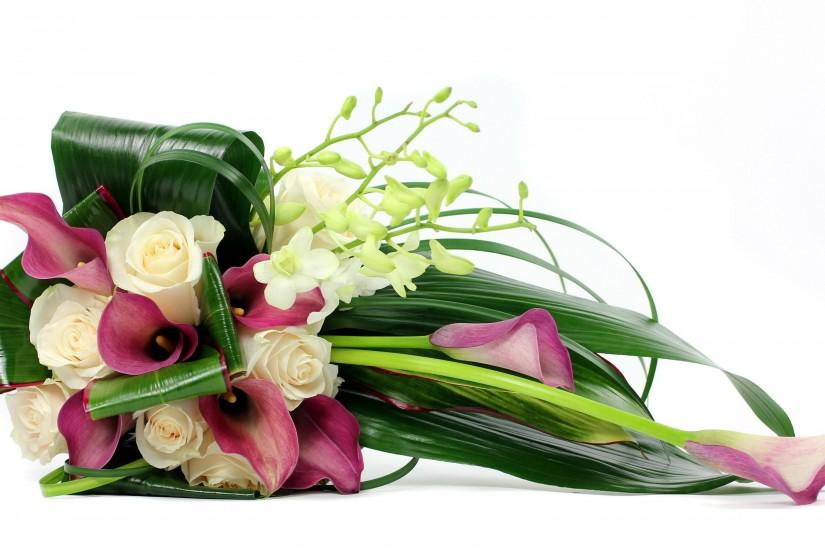 3350x2050 Wallpaper roses, calla lilies, freesia, leaves, flower, white  background