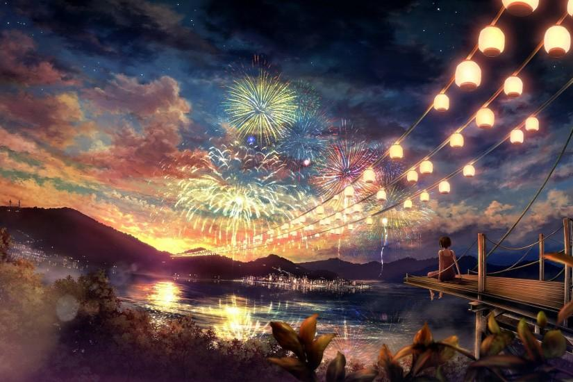 Girl watching the fireworks wallpaper - Anime wallpapers - #15972