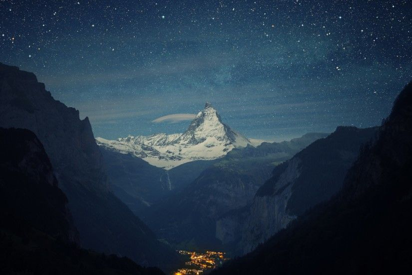 Preview wallpaper switzerland, alps, mountains, night, beautiful landscape  1920x1080