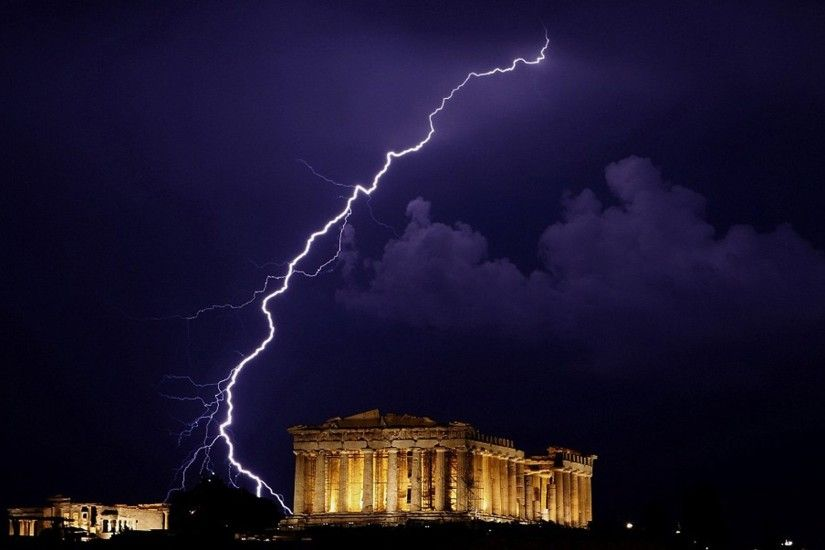Photography - Lightning Greece Parthenon Zeus Earth Wallpaper