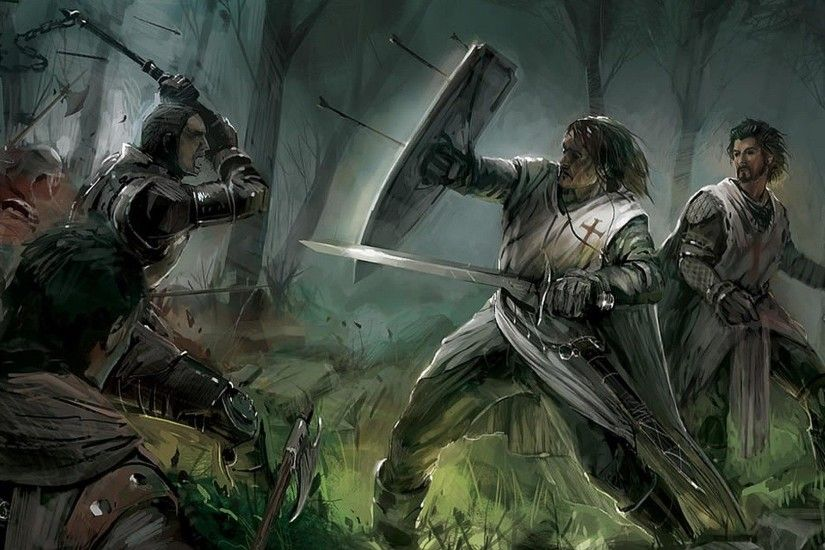 fight, knights, warriors, Templars, medieval :: Wallpapers