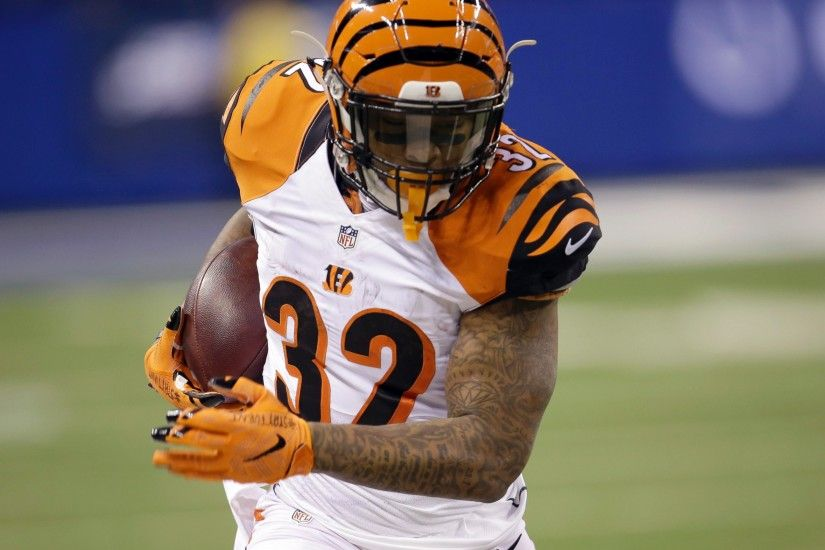 PHOTO: Cincinnati Bengals running back Jeremy Hill runs with the ball  during the first half of an NFL wildcard playoff football game against the  ...