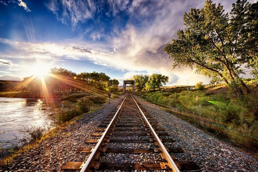 nature, Landscape, Sunset, Tracks, Train, Sun Rays, Trees, Clouds, River, HDR  Wallpapers HD / Desktop and Mobile Backgrounds