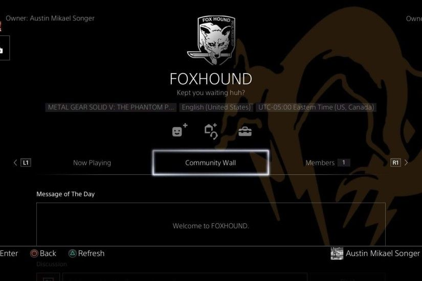 FOXHOUND PS4 Community is now live! Enlist now!