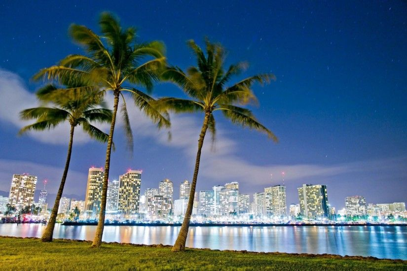 hawaii honolulu seaside park ala moana night lights