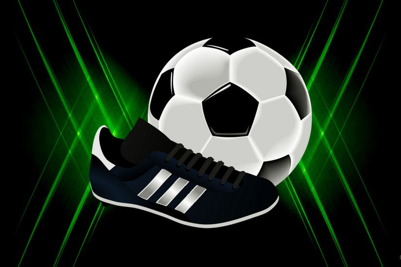 Soccer wallpaper with ball and shoe.