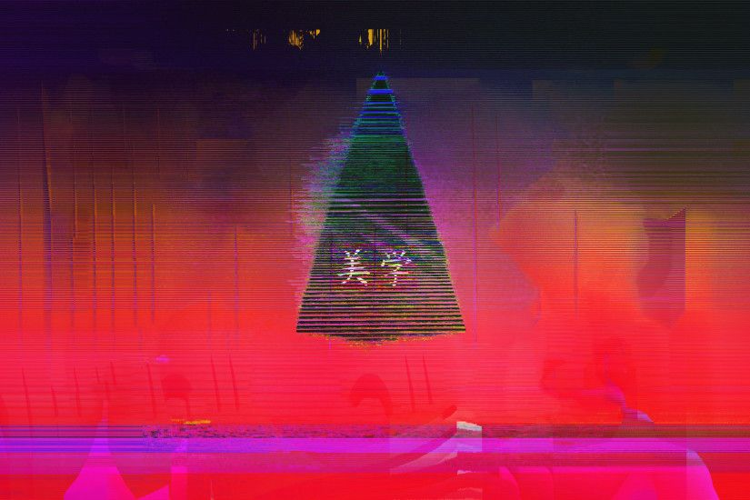 Glitch Neon Aesthetic Japan Triangle Abstract [1920x1080] ...