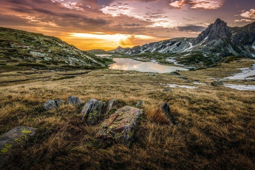 bulgaria mountain stones grass lake sunrise clouds