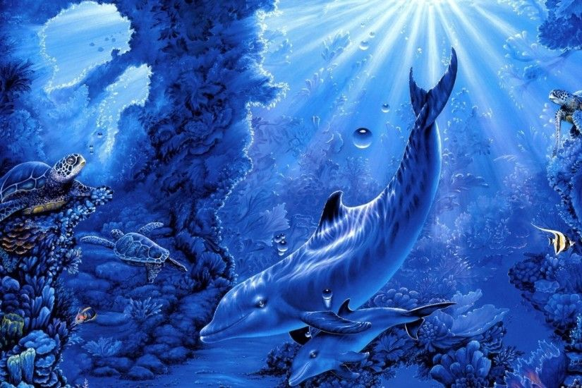 Dolphin Tag - Ocean Dolphin Seabed Dolphins Turtles Sea Art Underwater  Corals Belinda Fish Rays Leigh