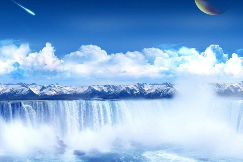 Wallpapers Backgrounds - wallpapers part fantasy space waterfall desktop  background screensaver
