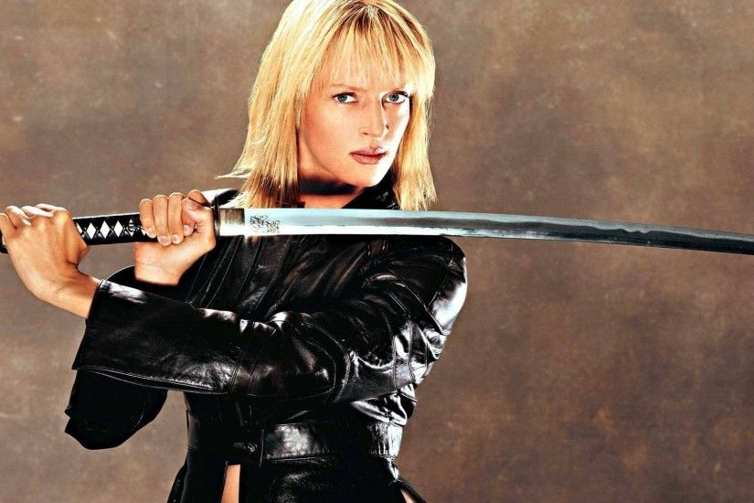 #Women #Blonde #Actress #UmaThurman #BlueEyes #Katana #KillBill  #LeatherJackets