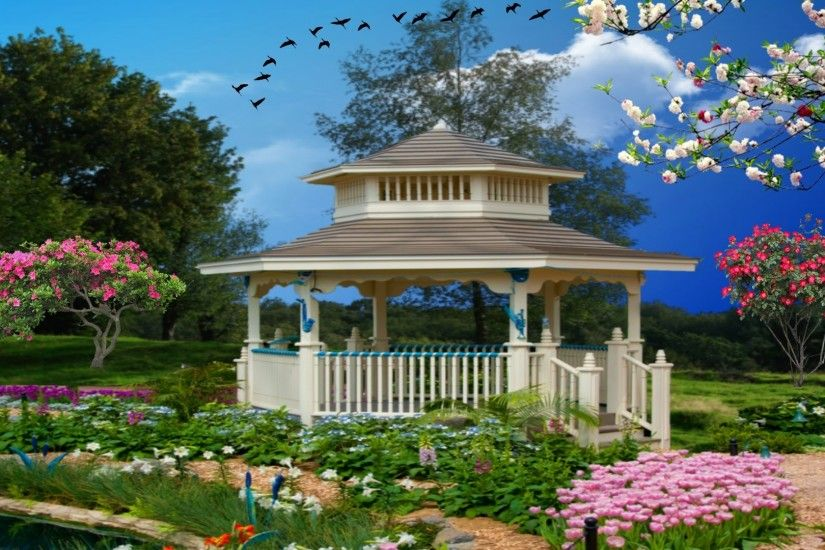 Landscape Spring Nature Garden Flowers Gazebo Flower Wallpapers For Desktop  Free Download Detail