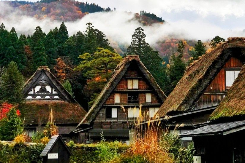 Preview wallpaper japan, shirakawa, houses, mountains, trees 2560x1080