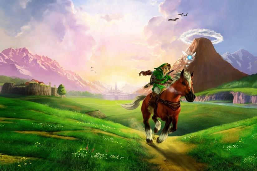 Preview wallpaper the legend of zelda, horse, plain, river, sunlight, zelda