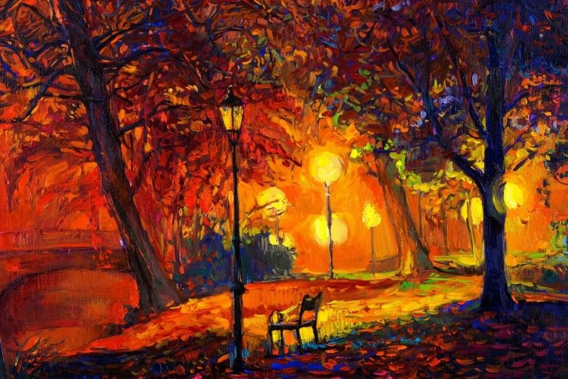 General 1920x1080 digital art nature trees painting park bench lamp fall  leaves modern impressionism artwork