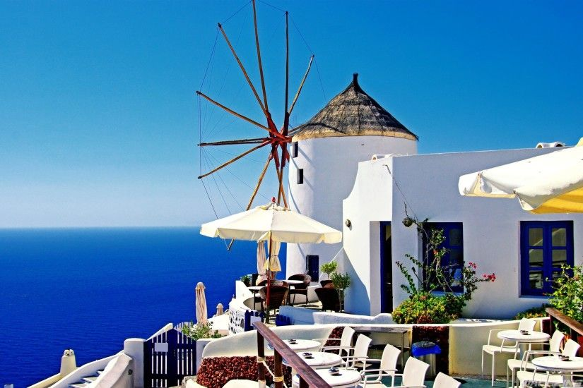Greece Oia Santorini Mediterranean Wallpaper
