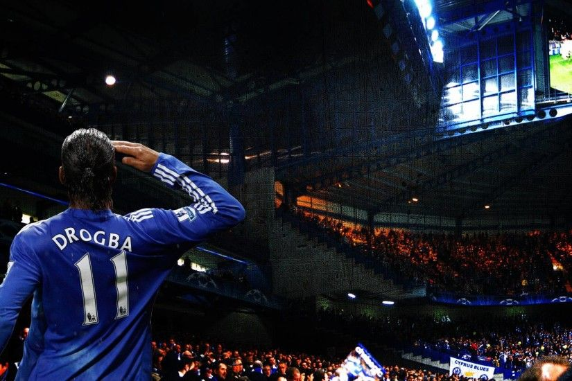Drogba salutes the Chelsea fans at Stamford Bridge.