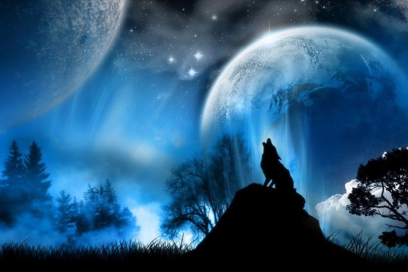 moon wolves background cool wallpaper images 1920x1200
