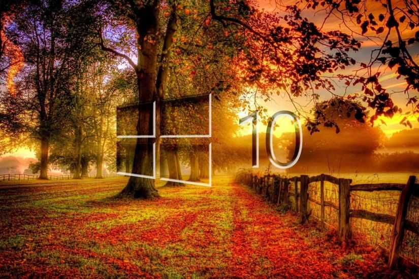 Windows 10 in the fall glass logo wallpaper