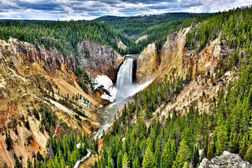 yellowstone national park united states sky clouds forest tree river  waterfall slope mountain