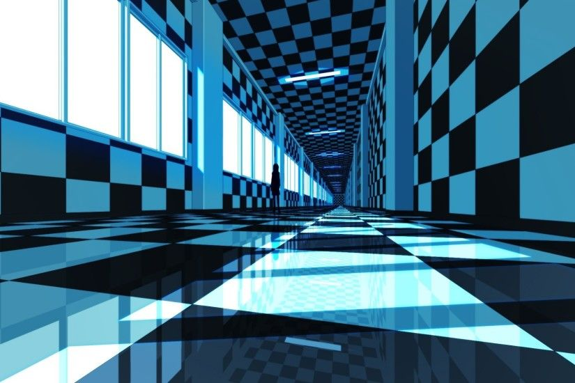 checkered, Tunnel, Hallway, Reflection, CGI Wallpapers HD / Desktop and  Mobile Backgrounds