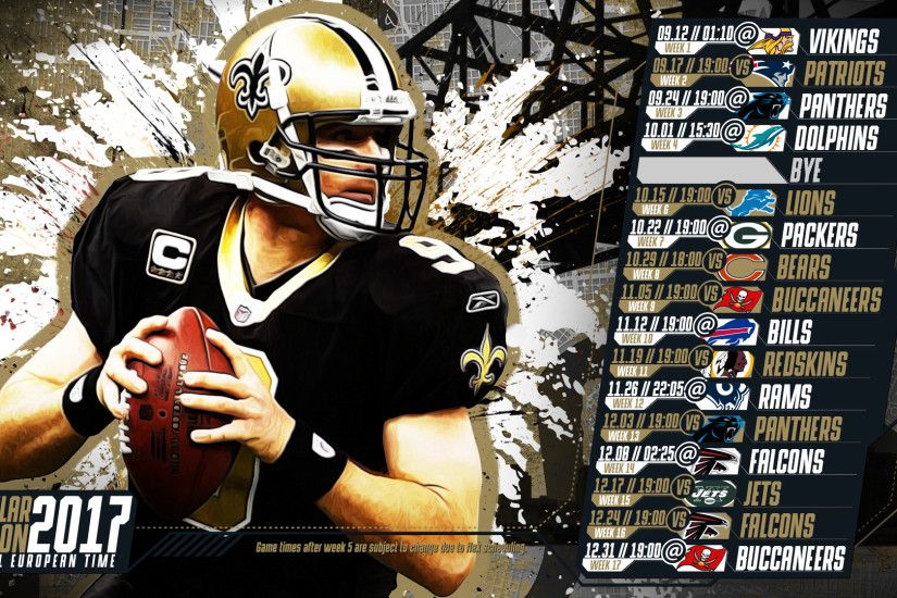Schedule wallpaper for the New Orleans Saints Regular Season, 2017 Central  European Time. Made