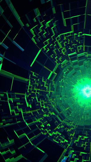 Abstract Green Black Hole Wallpaper