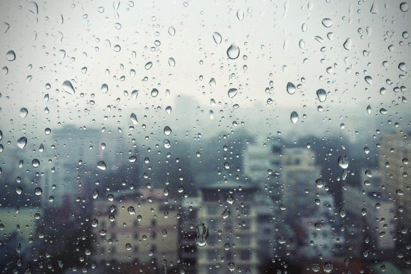 Preview wallpaper rain, window, glass, buildings, drops 1920x1080