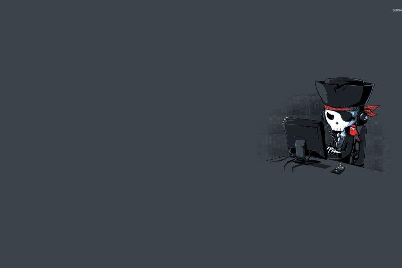 Pirate skeleton at the screen wallpaper