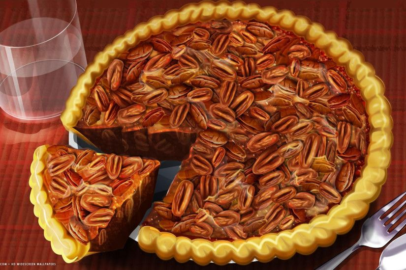 thanksgiving day food pecan pie slice holiday hd widescreen wallpaper