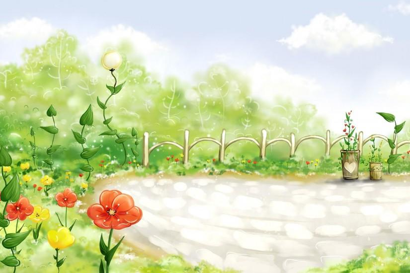 Wallpaper Field, Grass, Fence, Flowers, Poppies, Drawing HD, Picture, Image