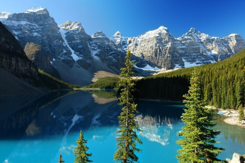 Reflection Mountains on Lake Surface Wallpaper | Free Wallpapers .