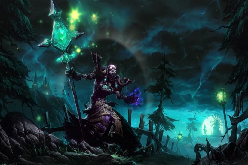 Undead World of Warcraft WOW Priest Shadow fantasy magic dark wallpaper  background