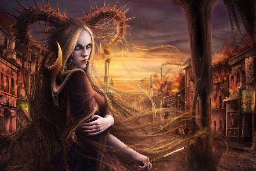 Fantasy Women, Horns, Demon, Apocalyptic, Ghost Town