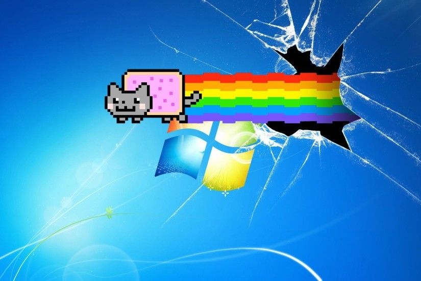 Kitty Nyan Cat, Computer Screen Wallpaper, Broken Screen Wallpaper,  Wallpaper Art, Windows