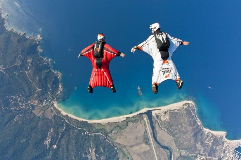 wingsuit drivers formation fs beach sea boat reef river helmet trailers  parachute extreme sports