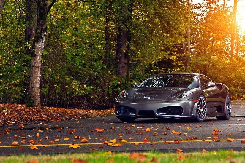 Preview wallpaper ferrari, 430, scuderia, park, autumn, auto 1920x1080