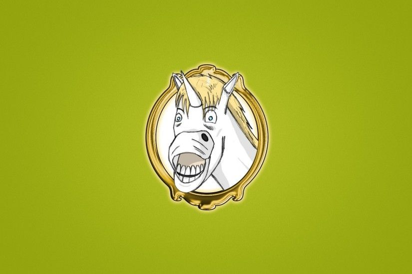 unicorn portrait smile horse white bright green background minimalism  unicorn funny face