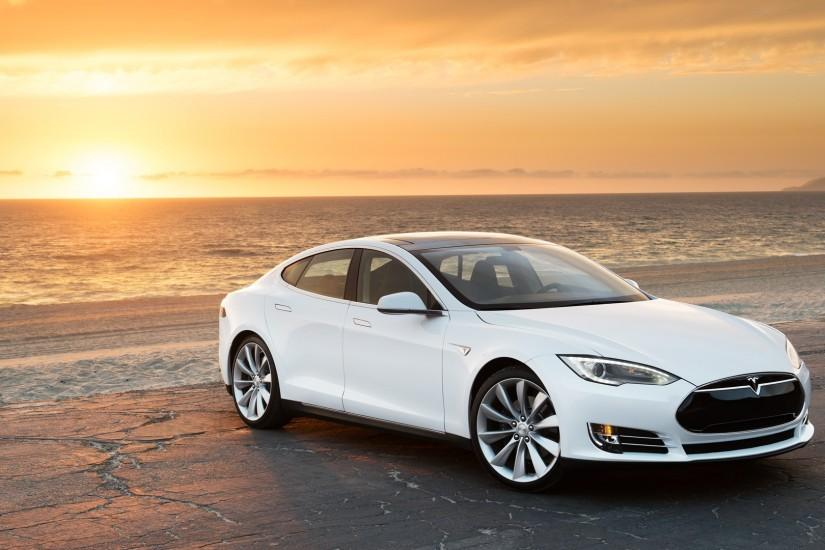 Preview wallpaper tesla, model s, tesla model s, sea 3840x2160