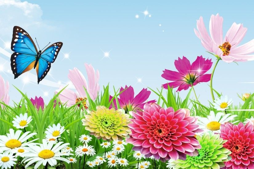 #BB3355 Color - Garden Fragrant Wild Spring Summer Stars Daisies Butterfly  Clouds Cosmos Flowers Sky