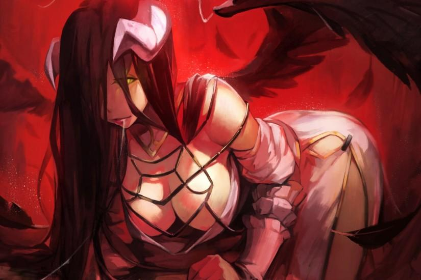 albedo black hair breasts cleavage feathers horns iorlvm long hair overlord  wings wallpaper