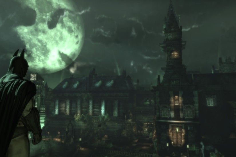 1920x1080 - batman arkham asylum, city view, dark theme, moon # original  resolution