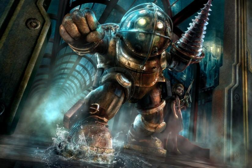 2048x1152 Wallpaper bioshock, big daddy, little sister